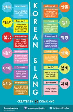 Korean slang infographicSome fans have asked for an infographic about Korean slang, so I covered 12 popular ones. Listen for these when you watch your favorite dramas and variety shows!