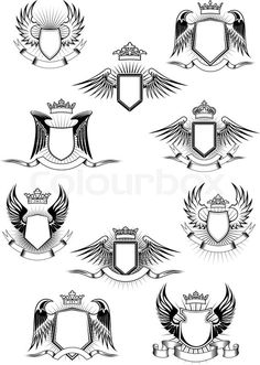 Stock vector of 'Heraldic coat of arms templates with medieval winged shields decorated royal crowns and blank ribbon banners' Badge Design, Logo Design, Eagle Icon, Shield Logo, Shield Vector, Ribbon Banner, Wings Logo, Wings Design, Affinity Designer