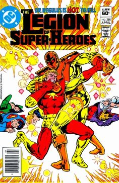 Sunboy battles it out with Dr.Regulus as Superboy,Shrinking Violet,Lightning Lad,Chameleon Boy and Dream Girl lay defeated.