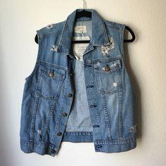 Current Elliott Destroyed Denim Vest Destroyed medium colored-denim vest by Current Elliott. It's a 2, so I believe it best fits a size medium. Current/Elliott Jackets & Coats Vests