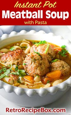 Instant Pot Meatball Soup is a delicious soup made with homemade meatballs or use frozen meatballs as a quick shortcut! Pressure cooker Meatball Soup has optional pasta added for a heartier soup. So delicious! RetroRecipeBox.com Pressure Cooker Meatballs, Instant Pot Pressure Cooker, Pressure Cooker Recipes, Meatball Soup, Macaroni Pasta, Pasta Soup, Homemade Soup, Dry Rice, Panko Bread Crumbs