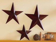 patriotic decor | New 3 Metal Country Barn Star Americana Wall Accents Home Decor | eBay