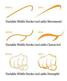 Illustrator CS5 Variable Width Stroke Tool Gestural Sketches And Digital Inking