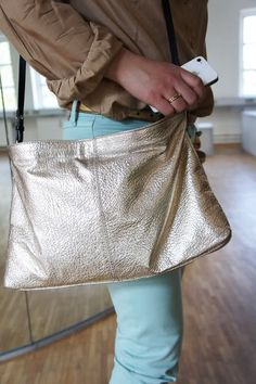Gold metallic purse zara