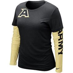 """Nike® Women's Gold Sleeve Cross Campus T-Shirt    60% Cotton 40% Polyester Dr Grey tee shirt with gold sleeves with full color Army """"A"""" with silver """"ARMY"""" embroidered over it on top right of shirt and black """"ARMY"""" going down left sleeve."""