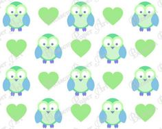 Free Printable Scrapbook Paper Owls | Digital Scrapbooking Owls Light Blu e - Green Hearts - Baby Shower ...