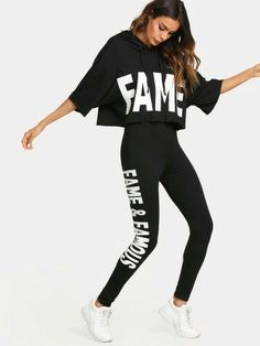 To find out about the Letter Print Hooded Top & Pants Set at SHEIN, part of our latest Two-piece Outfits ready to shop online today! Sporty Outfits, Cute Outfits, Fashion Outfits, Stylish Outfits, Men Fashion, Crazy Outfits, Grunge Outfits, Fashion Black, Fashion Styles