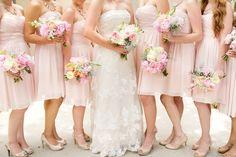 blush nuetral pink bridal party bridesmaids dresses