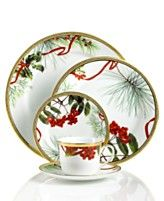 My Christmas holiday dinnerware - Only the salad plate has the holiday pattern.  And I have the red-banded dinner plate as well.  With white china, I can use for any holiday.