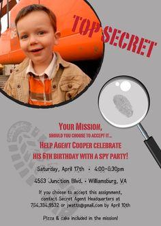 Spy Party Invitations from KimsCustomGifts on Etsy
