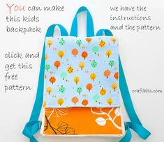 Store-bought backpacks don't excite you? Make a unique, yet simple backpack for your child with bright straps and cheerful fabrics. Have your child pick out fabrics to make this project fun for bot. Backpack Tutorial, Diy Backpack, Toddler Backpack, Backpack Pattern, Make Your Own Backpack, Backpack Store, Sewing Patterns For Kids, Sewing Projects For Kids, Sewing For Kids