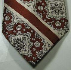 OLEG CASSINI Rich Bronze Cream Geometric Stripe Vtg Tie RARE #NeckTie