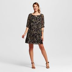 Women's Bishop Sleeved Tunic Dress Black S - Merona