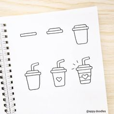 what would you drink in this travel mug? Easy Doodles Drawings, Easy Doodle Art, Cute Easy Drawings, Doodle Art Drawing, Cool Art Drawings, Simple Doodles, Cute Doodles, Doodle Doodle, Drawing Ideas