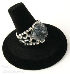 Black Glitter Rose Ring by We3Creations01 on Etsy, $15.00