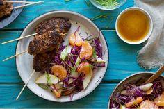 Korean beef skewers with mandarin-cabbage slaw