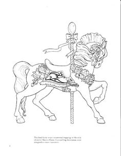 "Coloring page from ""Carousel Animals"" Horse Coloring Pages, Colouring Pages, Adult Coloring Pages, Coloring Books, Kids Coloring, Tattoo Painting, Desenho Tattoo, Carousel Horses, Copics"