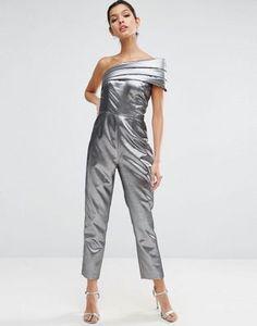 ASOS One Shoulder Jumpsuit in Metallic