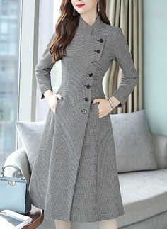 Buy Casual Dresses Midi Dresses For Women from Eau du Sud at Stylewe. Online Shopping Stylewe Formal Dresses Long Sleeve Casual Dresses Work A-Line Stand Collar Work Buttoned Dresses, The Best Daytime Midi Dresses. Discover unique designers fashion at sty Stylish Dresses, Elegant Dresses, Fashion Dresses, Long Casual Dresses, Formal Dresses For Women, Lace Dresses, Vintage Dresses, Dress Neck Designs, Kurti Neck Designs