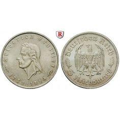 Drittes Reich, 5 Reichsmark 1934, Schiller, F, vz, J. 359: 5 Reichsmark 1934 F. Schiller. J. 359; vorzüglich, Kratzer… #coins #numismatics