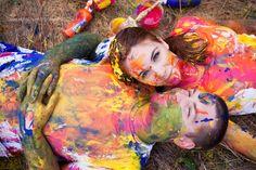 Paint fight engagement shoot!!  Claire Hudson Photography