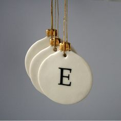Thinking maybe a DIY with salt dough? Personalized Letter Christmas Bauble Ornament by joheckett on Etsy, Clay Christmas Decorations, Christmas Clay, Diy Christmas Ornaments, Homemade Christmas, Christmas Projects, Christmas Crafts, Christmas Cover, Christmas Tree, Clay Ornaments