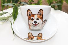 Corgi handpainted unique cup saucer set  by dariacreativedesigns