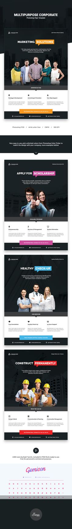 Multipurpose corporate Photoshop flyer template suitable for your company, agency, school, campus, or organization.With modern & professional design, very easy to use.You can change default flyer theme color by picking unlimited color from Photoshop Color Picker to match the design with your company/organization.Available in 2 formats, A4 & Letter with bleed in each side. #graphicriver #envato #market #creative #flyer #poster #graphic #design #print #template #editorial #layout #corporate
