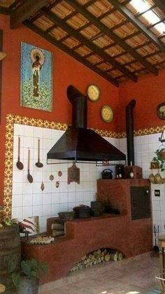 Color is Sherwin Williams Raisin Outdoor Stove, Mexican Kitchens, Hacienda Style, Wood Fired Oven, Stove Fireplace, Rocket Stoves, Back Patio, Outdoor Cooking, Kitchen Styling
