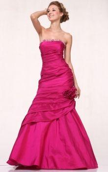 Fuchsia Mermaid/Trumpet Strapless Natural Long/Floor-length Sleeveless Flower(s) Taffeta Prom Dresses Dress