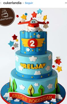 Super Wings Airplane Birthday Cakes, Disney Planes Birthday, 3rd Birthday Cakes, 5th Birthday Party Ideas, Toy Story Birthday, Boy Birthday Parties, Bolo Fake Eva, Planes Cake, Cakes For Boys