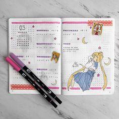 Bullet Journal Inspo, Bullet Journal Tracker, Bullet Journal Notebook, Bullet Journal Aesthetic, Bullet Journal Ideas Pages, Bullet Journal Layout, Sailor Moon, Bujo, Cool Journals