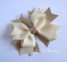 Ivory and champagne boutique bow ivory bow large hair bow christmas bows cream hair clip toddler bows ivory and gold bow glitter bow Large Hair Bows, Diy Hair Bows, Making Hair Bows, Bow Hair Clips, Baby Girl Hair Accessories, Fancy Bows, Toddler Bows, Christmas Bows, Boutique Hair Bows