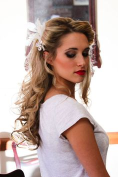 wedding hair style curly half up half down hair accessories