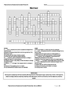 A Crossword Puzzle On Matter From Physical Science Vocabulary Puzzles