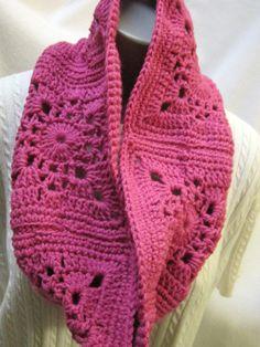 Bright Pink Infinity Cowl Soft Pink Scarf by crochetedbycharlene
