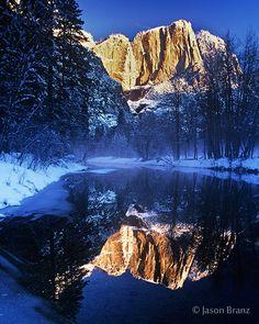 Frozen Merced River, Yosemite National Park, California
