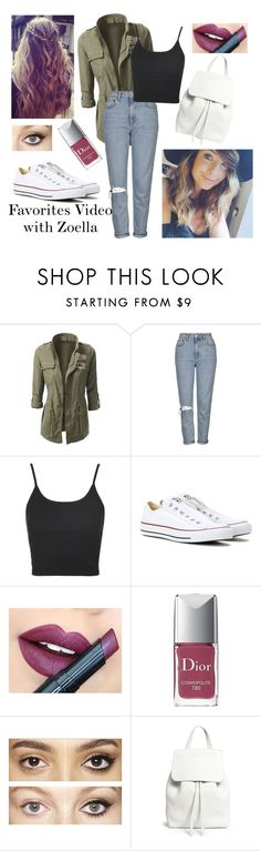 """Favorite Video with Zoella"" by rachgrizz ❤ liked on Polyvore featuring Topshop, Converse, Fiebiger, Christian Dior, Charlotte Tilbury, Mansur Gavriel, YouTubers, youtube, Zoella and favorites"