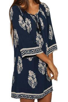 Leaf Print 3/4 Sleeve Dress: Print Dresses | ZAFUL