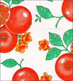 """""""Oranges"""" on White - Oilcloth"""