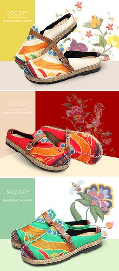 Colorful Embroidered Buckle Folkways Backless Loafers For Women is cheap  and comfortable. There are other cheap women flats and loafers online. 5ebdc8396