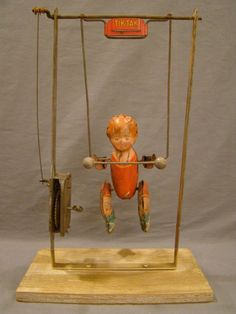 Antique 1930's Old TIN Litho TIK TAK Acrobat WIND-UP Lithograph Boy on Swing TOY | eBay