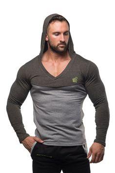 a9edc2bb2e493f Indigo Deep V Muscle Hoodie - Gray