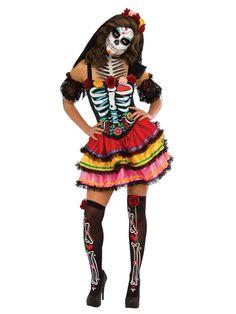 Bezauberndes Sugar Skull Damenkostüm Tag der Toten schwarz-weiss-bunt. Aus der Kategorie Halloween Kostüme / Halloween Kostüme Damen. Dass Halloween nicht immer düster und grau sein muss, beweist diese Untote, denn das Skelett-Kostüm für Damen kommt im kunterbunten Sugar Skull-Style und eignet sich damit ebenso für den mexikanischen Tag der Toten (Dia de los Muertos) wie auch für die etwas farbenfroheren Halloween-Partys!