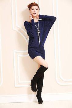 New Women Casual Dress Plus Size Women Dress Bat Sleeve Short Autumn Winter Dress Vestidos Gold / Blue / Silver vestidos  size information 1cm=0.3937inch  size  length  Shoulder  bust  waist  sleeve  cuff  S  75cm  36 cm  96cm  86cm  48cm  18cm...