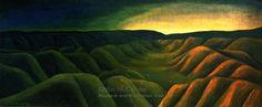 'Takaka: night and day' by New Zealand painter Colin McCahon Oil on canvas on board, 915 x 2130 mm. Auckland, Tamaki, New Zealand Art, Nz Art, Kiwiana, Landscape Paintings, Landscapes, Day For Night, Art Boards