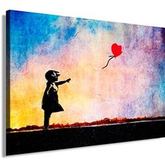 """Banksy Kunst auf Leinwand Bild 100x70cm k. Poster ! Bild fertig auf Keilrahmen ! Pop Art Gemälde Kunstdrucke, Wandbilder, Bilder zur Dekoration - Deko / Top 100 """"Banksy"""" Bilder - Graffiti / Street Art Kunstdrucke"""