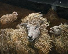 Por amor al arte: Andrea Kowch Wooly Bully, Sheep Art, Sheep And Lamb, Portraits, Fine Art Gallery, Art Techniques, American Artists, Painting & Drawing, Figure Painting