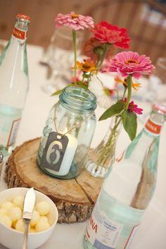 Pots bouteilles en verre comme décoration