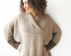 Mohair Hand Knitted Poncho Plus Size Over Size Tunic - Dress by Afra